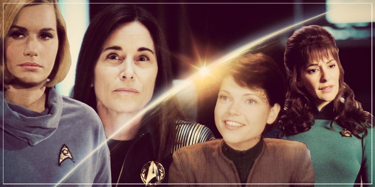 a photo collage of four Starfleet counselors